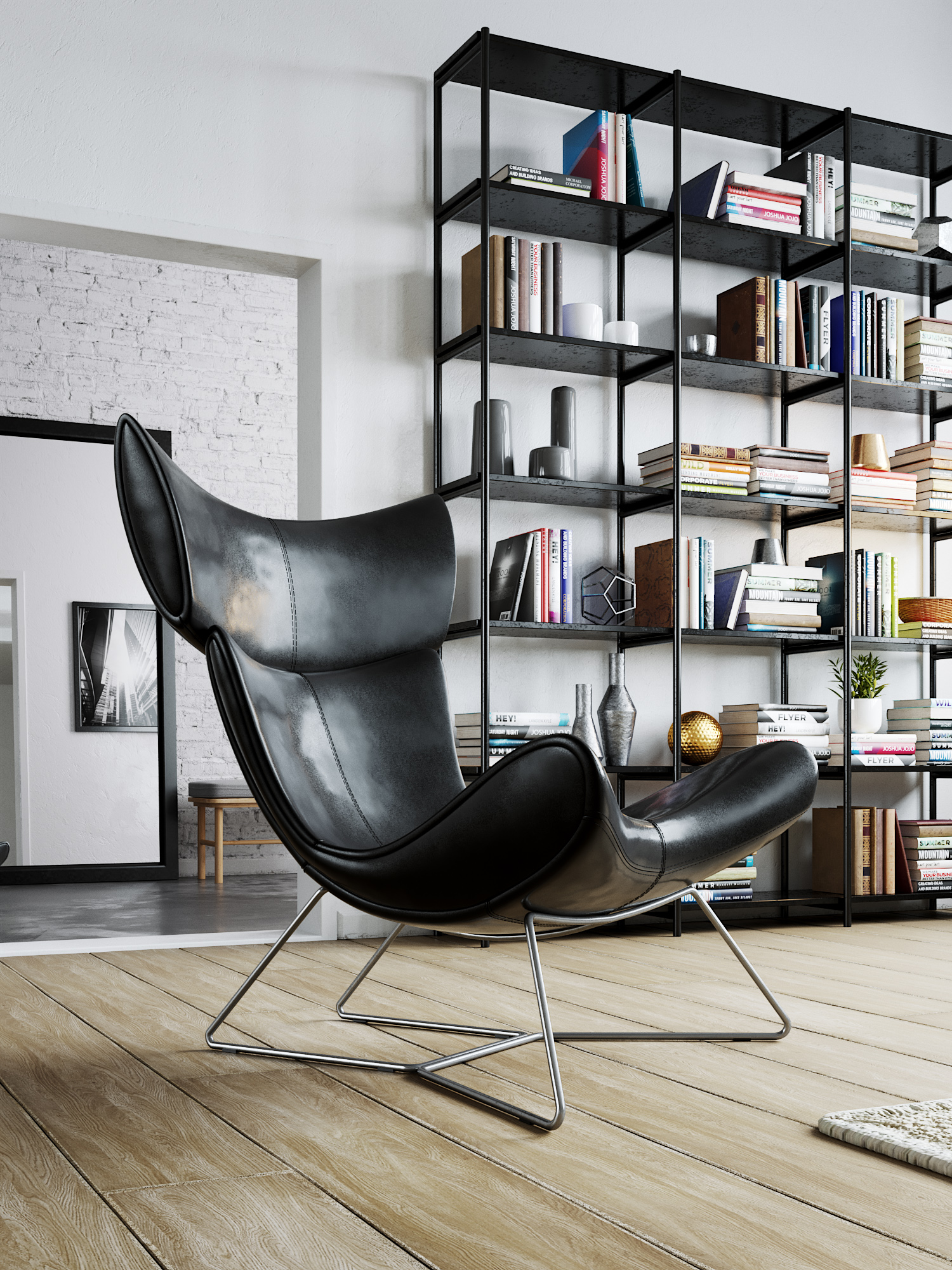 salon fotel półka