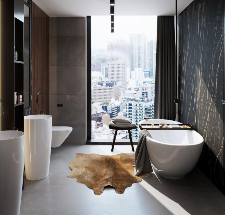 Wizualizacja łazienki w stylu wielkomiejskim